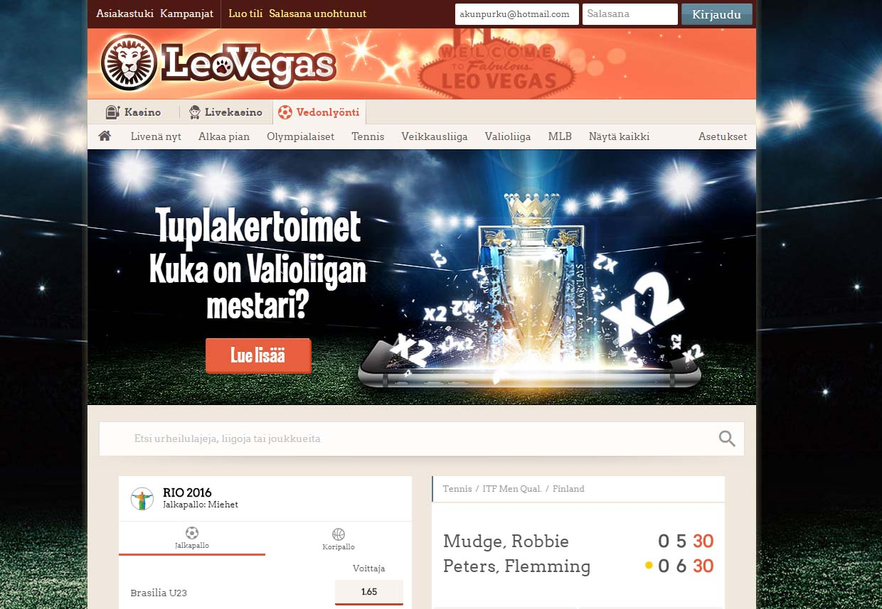 leovegas sport screen